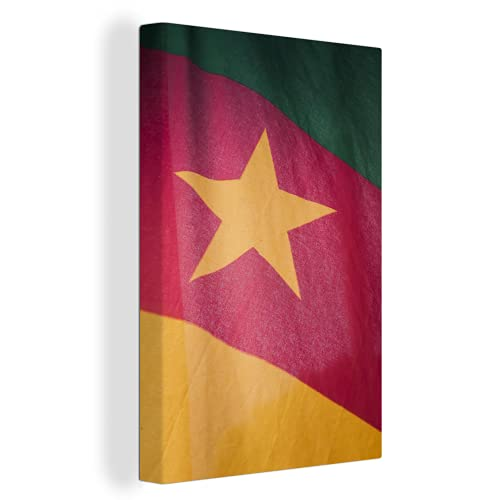 Leinwandbild - Nahaufnahme der Flagge von Kamerun - 80x120 cm