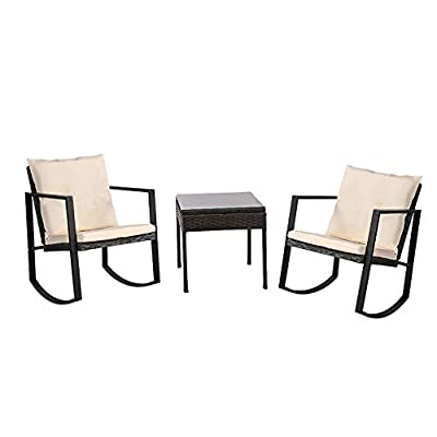 Fit Right Rattan Wicker Patio Rocking Chair and Table Set, Outdoor Bristro Set, Perfect Conversation and Relax Set for Front and Back Yards, Poolside and Lawn. (Black)