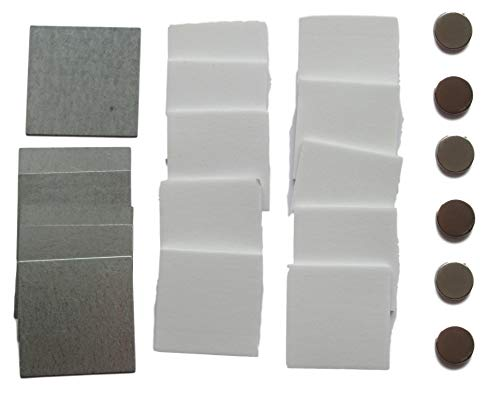 Selbstklebendes HALTERUNGSSYSTEM mit Magneten – 6x Stahlplättchen 45mm + 6x Klebe-Magnete + 10x Sticky Pads – für Fernbedienungen, Klein-Gegenstände usw.