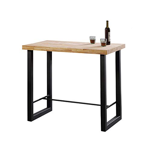 Adec Group Loft, Mesa Alta de Cocina, Mesa de Bar, Barra, Mesa Contract, Color Roble Salvaje y Negro Medidas: 120 cm (Ancho) x 70 cm (Fondo) x 100 cm (Alto)