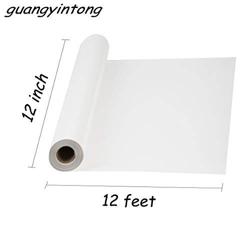 "guangyintong Heat Transfer Vinyl Roll for T-Shirts 12"" x 12ft Matte (White A1)"