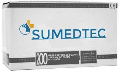 SUMEDTEC - 200 x Gasas estériles 10x10 cm Suaves de Tejido no tejido para el cuidado de heridas suministros médicos de primeros auxilios 200piezas