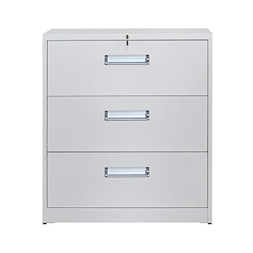 3 Drawers Lateral File Cabinet with Lock, Locking Lateral Metal Filing Cabinet for Home and Office