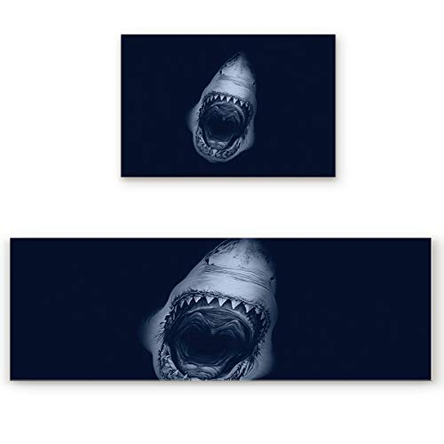 Big buy store Kitchen Rug Sets 2 Piece Wild Shark Non Slip Anti Fatigue Floor Mats Marine Animal Comfort Soft Absorb Cushioned Standing Doormat Runner Rugs (15.7x23.6+15.7x47.2 inch)
