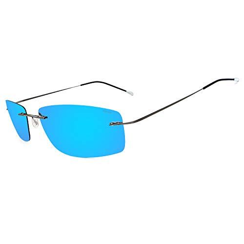 RONSOU Gafas de Sol de Los Hombres Moda Ultraligeras Polarizadas Sin Montura Titanio para Conducir Al Aire Libre Marco Gris Lente Azul (reflejado)