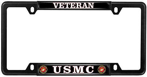 USMC Veteran - Domed Custom-Made Personalized Narrow (Thin) Top 4 Hole Metal Car License Plate Frame with Free caps - Black