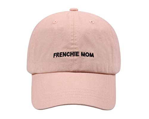 Hatphile Pre-Washed Soft Embroidery Dad Hat Baseball Cap Dog Mom Dog Dad (Frenchie Mom Pink Cap)