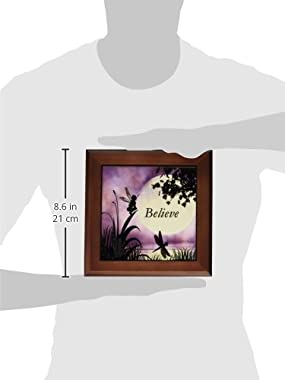 3dRose ft_35696_1 Believe, Fairy with Dragonflies with Moon and Purple Sky Framed Tile, 8 by 8-Inch