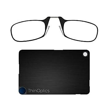 ThinOptics Flashcard Rectangular Reading Glasses Black Frames/Black Case 44 mm + 1.5
