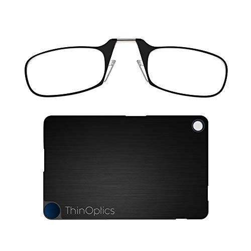 ThinOptics Flashcard Rectangular Reading Glasses, Black Frames/Black Case, 44 mm + 1.5