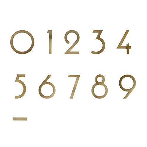 2/3 Zoll 3D Schwimmende Haus Plaque Nummer, DIY Nummer 0-9 Dash-Schild Tür Platte Selbst Klebender Aufkleber Goldene Messing Dekorative Wand Symbole Adresse Digital, Rostschutz, Langlebig, 1Pc