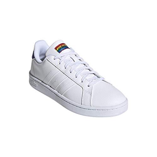 adidas Unisex Grand Court Tennis Shoe, White/White/Black, 6.5 US Women