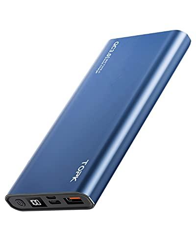 TOPK Batterie Externe 10000mAh 18W PD QC 3.0 Power Bank USB C Chargeur Batterie Portable Affichage LED Compatible avec iPhone 12 11 Pro X XS, Samsung, Huawei, iPad et Autres - Bleu
