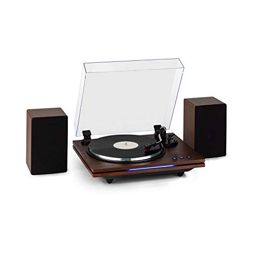 auna TT-Play Plus Plattenspieler Turntable, Stereolautsprecher: 20 Watt max, Bluetooth-Funktion, Status-LED, Geschwindigkeiten: 33/45 / 78 U/min, Riemenantrieb, holzfarben