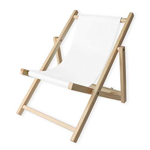 Promo Trade Kinder- Liegestuhl, naturbelassenes Kiefernholz, umweltverträglich mit weißem Stoffbezug (Lasur Natur)
