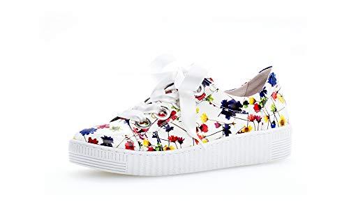 Gabor Damen Sneaker, Frauen Low-Top Sneaker,Best Fitting,Optifit- Wechselfußbett, schnürer schnürschuh sportschuh,Weiss/Multicolor,38 EU / 5 UK