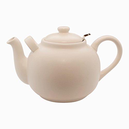Plint Teekanne, Stövchen - 2,5 Liter - Weiß - Steingut mit Edelstahl Sieb