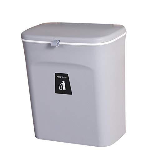 JIXUN Papelera colgante con tapa deslizante integrada para puerta de armario de cocina, baño, inodoro, dormitorio, sala de estar (gris)