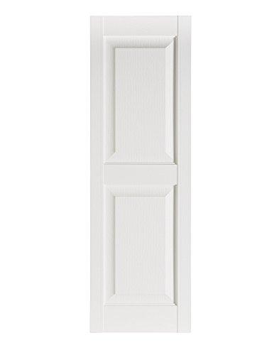 "Perfect Shutters Premier Raised Panel Exterior Decorative Shutter, 15"" x 39"", White"