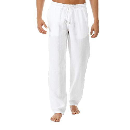Cotton Linen Trousers Men's Loose Fit Straight-Legs Stretchy Waist Beach Pants Drawstring Solid Sport Yoga Pant White