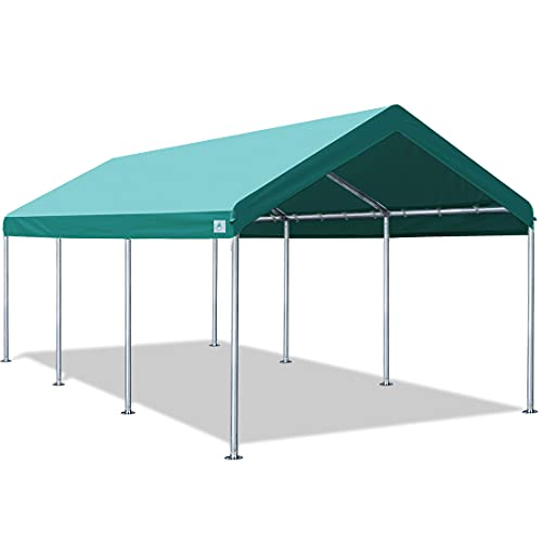 ADVANCE OUTDOOR Adjustable 10x20 ft Heavy Duty Carport Car Canopy Garage Boat Shelter Party Tent, Adjustable Height from 9.0ft to 10.5ft, Green