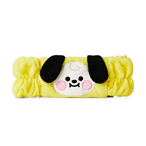 BT21 Baby Series CHIMMY Character Soft Spa Face Makeup Headband Hair Band for Women and Girls, Yellow