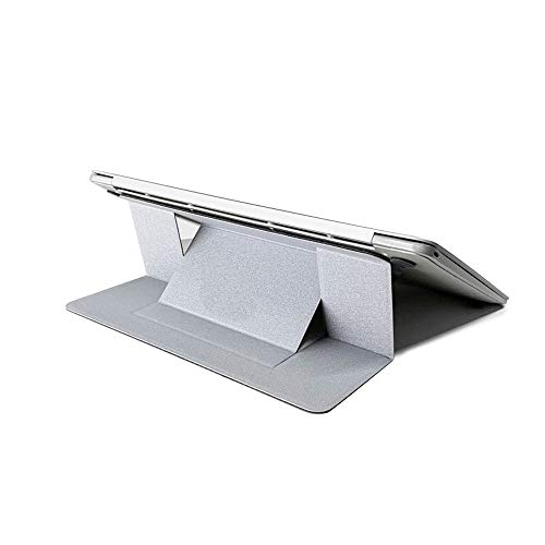 WZZD Laptop Stand Notebook Folding Stand Invisible Portable Holder Ergonomic Design, Compatible For Macbook Air, Pro, Dell, Samsung, Lenovo, Alienware Etc Silver