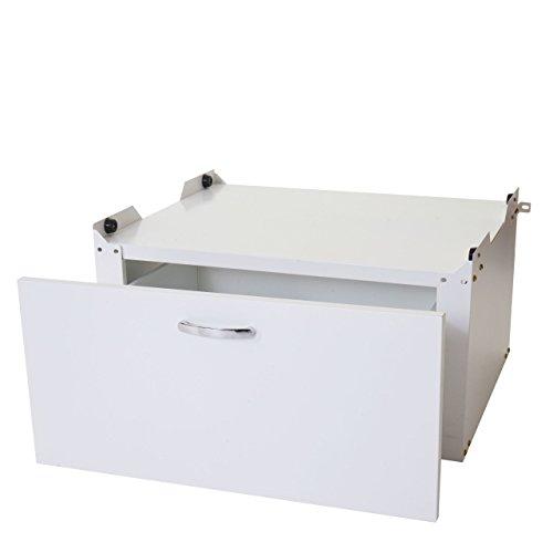 Mendler Waschmaschinenunterschrank HWC-E50, Sockel Podest Erhöhung Untergestell, Schublade 33x61x52cm ~ weiß