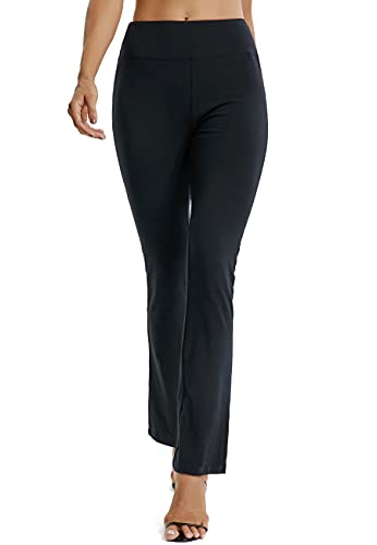 SEASUM Pantalon à Pattes d'éléphant Femmes Sport Bootcut Semi-évasé Taille Haute Large Confortable Extensible Relaxed Bootleg Causal pour Yoga Pilate Fitness Danse, B-Noir 2XL