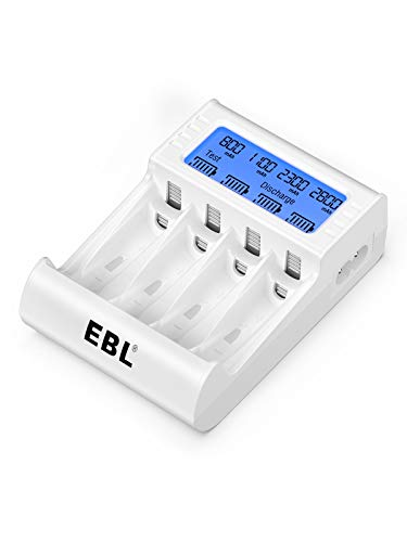 EBL Caricabatterie Indipendente 4 Slot con LCD Display, Caricatore con Funzione di Carica e Scarica Adatta per AA o AAA Ni-MH Ni-CD Batterie Ricaricabili