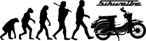 Wandtattoo: Evolution Simson Schwalbe, DDR, Moped, Motorroller, Motorrad, Kult, Oldtimer //Farb- und Größenwahl, Wandaufkleber (Weiß - 600 mm x 170 mm)
