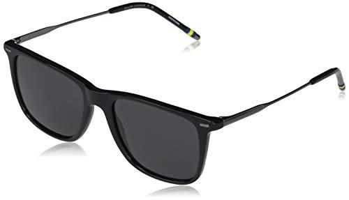 Polo Ralph Lauren Ph4163 Óculos de sol masculinos quadrados, Shiny Black/Grey, 54 mm