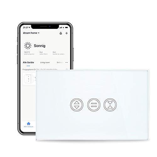 LoraTap Interruttore WiFi per Tenda, Interruttore Tattile Controllo APP o Vocale di Alexa Echo e Google Home, Interruttore Timer Telecomando per 600W CA Persiane Avvolgibili e Tapparelle Motore