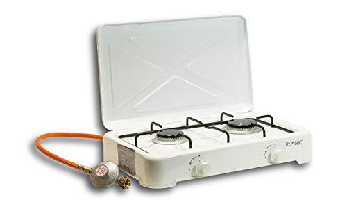 RSonic tragbarer Campingherd   Gaskocher Campingkocher   Tischkocher mit Deckel   Weiß   2.5-4.8KW   (2-flammig)