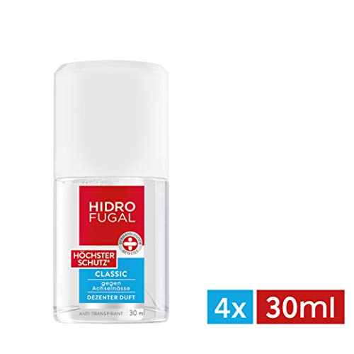 Hidrofugal Classic Höchster Schutz, Anti-Transpirant mit dezentem Duft und antibakteriellem Schutz, Anti-Perspirant schützt extra stark gegen Schweiß, 4er-Pack (4 x 30 ml)