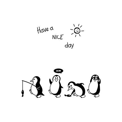 Dass Wandsticker Nette Pinguine Tier Haben Sie einen Guten Tag Letter, Art Vinyl Wohnaccessoires Tapete, for Küche Kühlschrank Dekoration (52 * 55 cm)