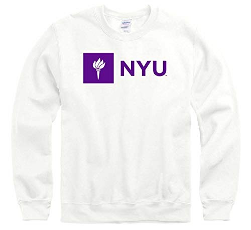 Campus Colors NCAA Adult Arch & Logo Gameday Crewneck Sweatshirt (NYU Violets - White, Medium)