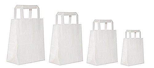 Dila GmbH 50 Papiertragetaschen in Weiß | Papiertaschen Henkeltaschen Tragetaschen Tüten Papiertüten recycelbar (32 x 12 x 40 cm)