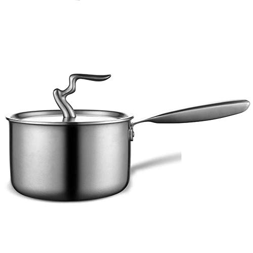 304 Stainless Steel Milk Pot Soup Pot Small Steamer Thickening Hot Milk Non-stick Mini Food Supplement Small Pot (Color : Silver, Size : 16cm),Milk Pot With Lid
