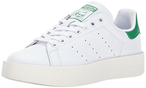 adidas Originals Women's Stan Smith Bold Running Shoe, White/Green, (10 M US)