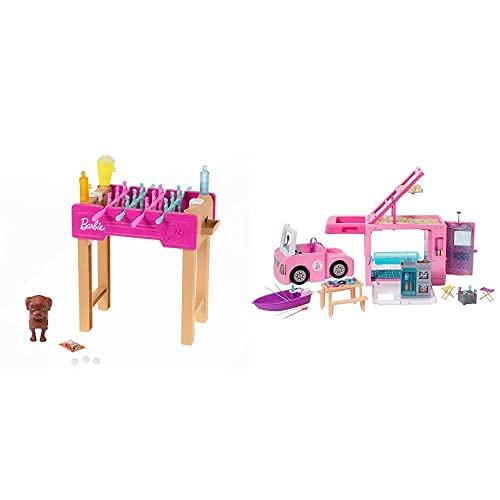 Barbie Set de Juego con Futbolín, Perrito y Accesorios de Juguete para Muñecas (Mattel GRG77) y Caravana para Acampar 3 en 1 (Mattel GHL93)