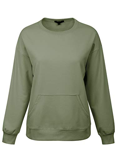 MixMatchy Women's Long Sleeve Solid Front Hoodie Pocket Crew Neck Sweatshirt Pullover Military M
