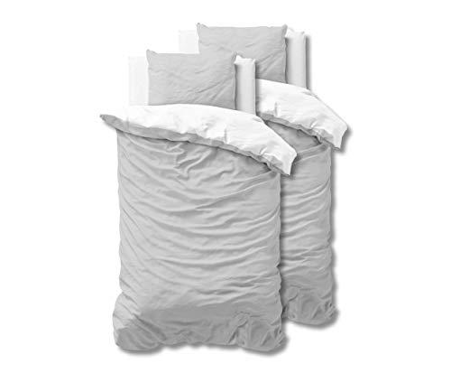 SLEEP TIME 100% Baumwolle Bettwäsche 155cm x 220cm 4teilig Weiß/Grau - weich & bügelfrei Bettbezüge mit Reißverschluss - zweifarbiges Bettwäsche Set mit 2 Kissenbezüge 80cm x 80cm