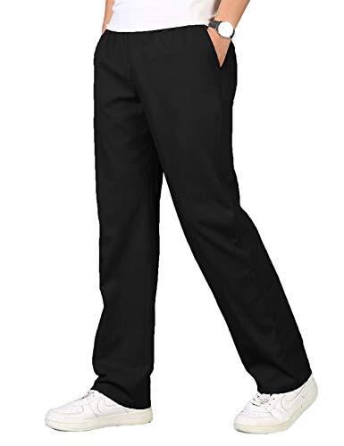 Leinenhose Herren Lang aus Baumwollmischung Gummizug Stretch Große Tasche Leichte Bequem Freizeithosen für Männer Schwarz XL