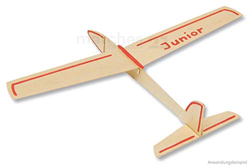 matches21 Segelflieger Junior Gleiter Flugzeug Segler 34 cm Bausatz 1 STK. f. Kinder Werkset Bastelset ab 9 Jahren