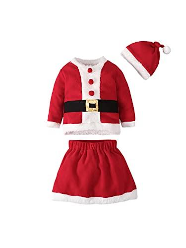 ZYBC Disfraz de Papá Noel de manga larga para bebé recién nacido, para niña, vestido de Navidad, vestido de fiesta para niña, traje de Navidad