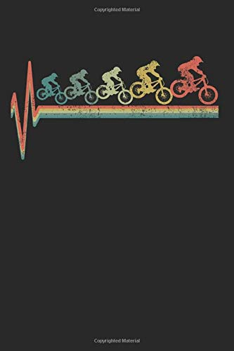 MTB Mountain Bike Heartbeat Retro Vintage Gift for Birthdays and Christmas: 6x9 Notebook Journal 120 Pages Dot Grid