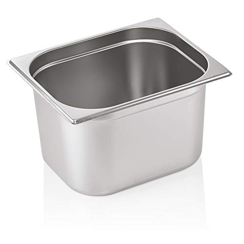 WAS 7012 200 Serie 70 Chromnickelstahl Gastronormbehälter mit Stapelrand, 6.50L, 1/2 GN, 325mm x 265mm x 200mm
