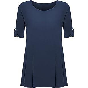 Customer reviews Womens Plus Size Scoop Neck Short Sleeve Flared Ladies Long Plain Top - Navy Blue - 22 / 24