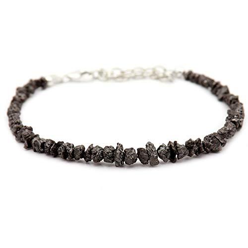 Armband mit natürlichen schwarzen Rohdiamanten und silberfarbenem Verschluss, konfliktfrei, schwarze Farbe, grobe Diamanten, Rohdiamanten